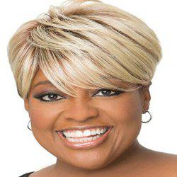 Spiffy Short Side Bang Capless Fluffy Straight Blonde Mixed Human Hair Wig For Women -