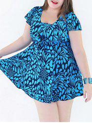 Stylish Plus Size Print Two-Piece Swimsuit For Women