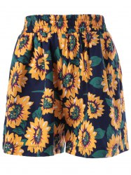 Wide Leg High Waist Floral Shorts - COLORMIX XL
