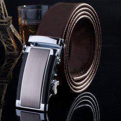 Stylish Smooth Rectangle Inlay Automatic Buckle Formal Occasion Belt For Men -