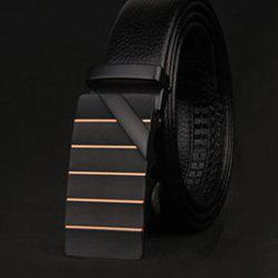 Stylish Slender Stripy and Wide Twill Embellished Formal Occasion Belt For Men - BLACK