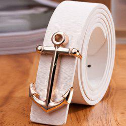 Stylish Golden Boat Anchor Shape Embellished PU White Belt For Men - WHITE