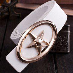 Stylish Golden Five-Pointed Star and Cut Out Oval Shape Embellished PU White Belt For Men - WHITE