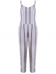 Simple Style Women's Striped Sleeveless Jumpsuit - WHITE M