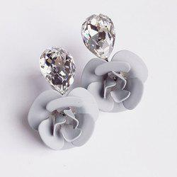Pair of Faux Crystal Flower Stud Earrings