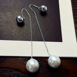 Pair of Chic Style Double-end Ball and Faux Pearl Earrings For Women - SILVER