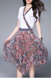 T-Shirt and Floral Print Asymmetric Skirt Suits -