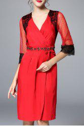 Lace Embellished Ruched See Through Dress -