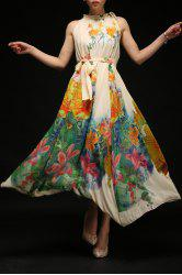 Flowing Floral Print Dress With Belt -