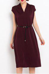 V Neck Back Slit Belted Dress -