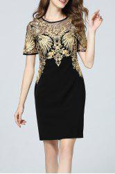 Gold Threaded Embroidered Dress -