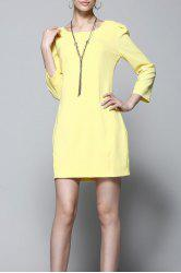 Back Bowknot Solid Color Dress -