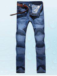 Simple Solid Color Zip Fly Denim Pants For Men - DEEP BLUE