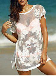 See-Through Tunic Bathing Suit Kaftan Cover Up - WHITE