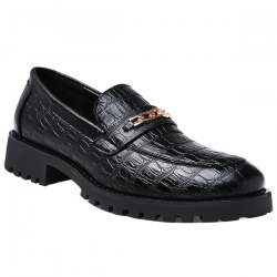 Fashionable Black Color and Embossing Design Formal Shoes For Men -