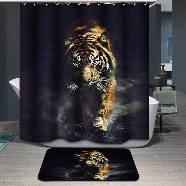 Tiger Printing Waterproof Animal Shower CurtainHOME<br><br>Color: COLORMIX; Type: Shower Curtains; Material: Polyester; Size(L*W)(CM): 180*180; Weight: 0.540kg; Package Contents: 1 x Shower Curtain;