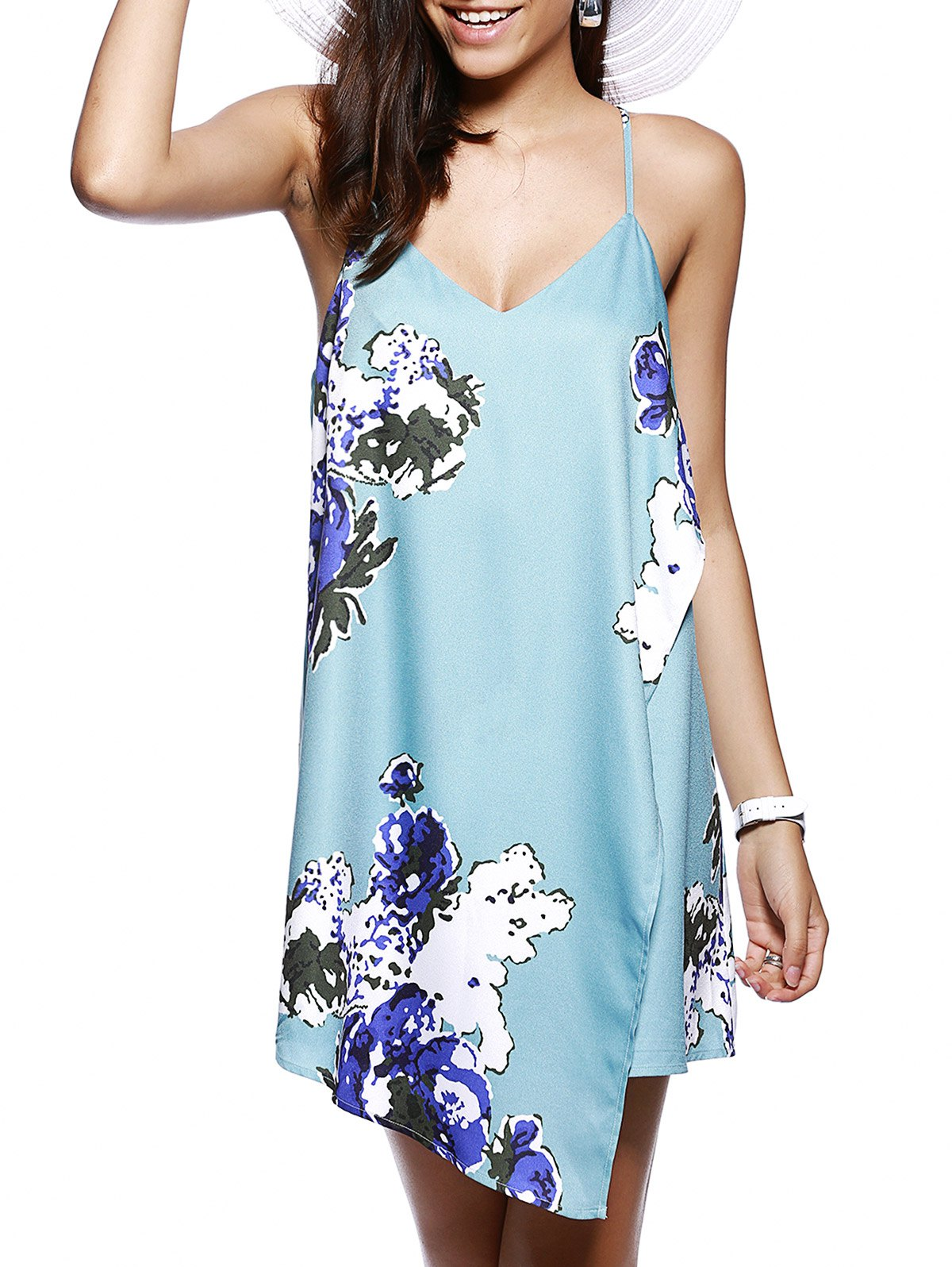 Online Sexy Floral Print  Cascades Cami Dress For Women