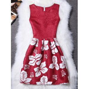 Stylish Sleeveless Round Neck Floral Women's Dress