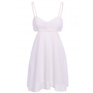 Cut Out Spaghetti Straps A-Line Dress - White - Xl