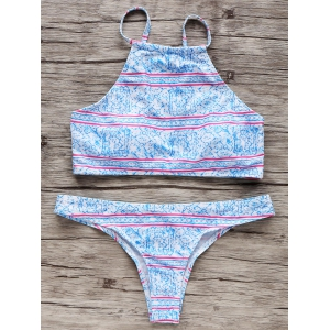Trendy Tiny Floral Women's High Neck Bikini Set