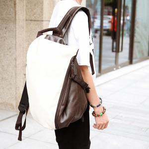 Trendy PU Leather and Colour Block Design Backpack For Men -
