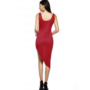 Asymmetric Sleeveless Summer Dress - RED XL