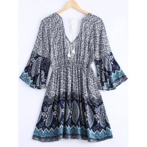 Bohemian Plunging Neck Printing Lace Up Dress For Women -