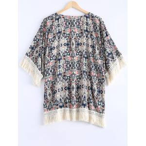 Ethnic Style Fringe Floral Print Short Sleeves Kimono For Women -