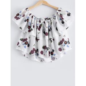 Stylish Off The Shoulder Floral Print Crop Top For Women