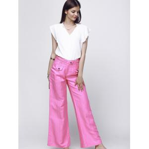 Fashionable High-Waisted Solid Color Women's Wide Leg Pants -