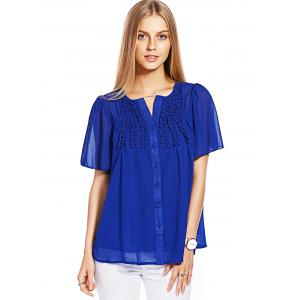 Ruffle Short Sleeve Chiffon Blouse - BLUE L
