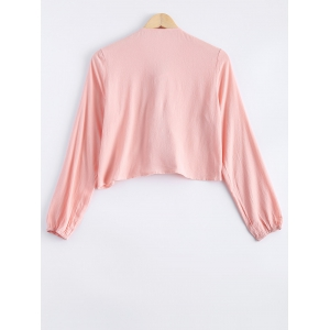 Stylish Long Sleeves Lace Panelled Blouse For Women -