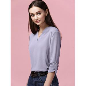 Simple Style V-Neck Long Sleeve Women's Chiffon Blouse -