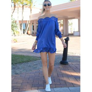 Stylish Slash Collar Long Sleeve Solid Color Laciness Women's Dress -