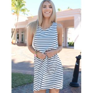 Tunic White Black Sleeveless Striped Dress -