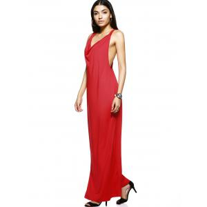 Trendy Draped Neckline Pure Color Side Cut Out Maxi Dress For Women -