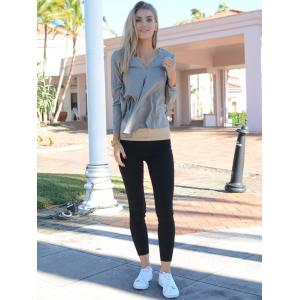 Stylish V Neck Long Sleeve Pure Color Asymmetrical Women's Blouse -