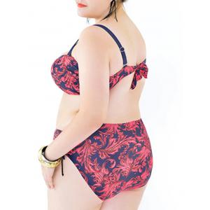 Stylish Plus Size Strappy Print Bikini Set For Women -