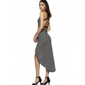 Chic U Neck Sleeveless Striped Cross Back High-Low Dress For Women -