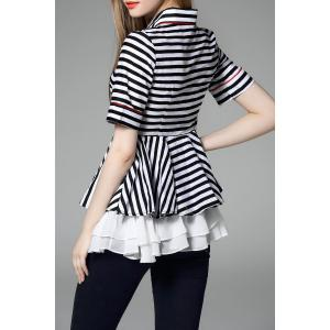 Polo Collar Striped Layered Blouse -