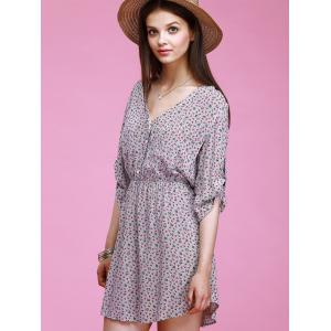 Chic V-Neck 3/4 Sleeve Tiny Floral Print Button Design Women's Dress -