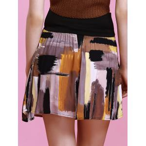 Fashionable High-Waisted Multicolor Printed Slimming Women's Skirt -