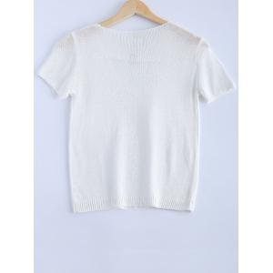 Stylish Solid Color V-Neck Metallic Short Sleeves Knitwear For Women -
