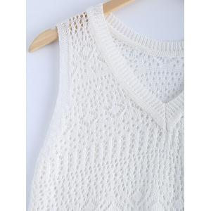 Stylish V-Neck Crochet Fringe Sleeveless Top For Women -