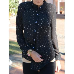 Stylish Shirt Collar Polka Dot Long Sleeves Blouse For Women