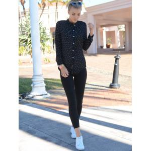 Stylish Shirt Collar Polka Dot Long Sleeves Blouse For Women - BLACK S