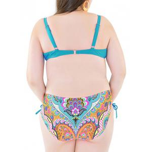 Plus Size Push Up Underwire Floral Print Bikini Set - BLUE 6XL