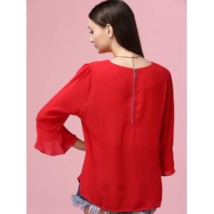 Sweet Flare Sleeve Round Neck Women's Chiffon Blouse - RED 4XL