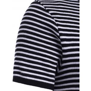 Stylish Round Neck Striped Short Sleeves Knitwear For Women -