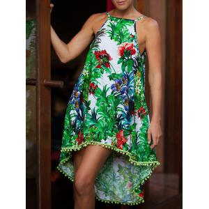 Spaghetti Strap Floral Print Fringed Asymmetrical High Neck Boho Dress - Green - S